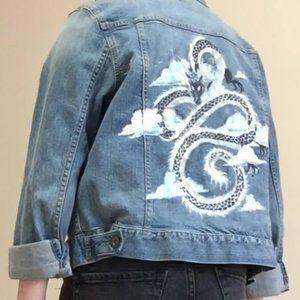 Oversized Womens Denim Jacket Painted Dragon
